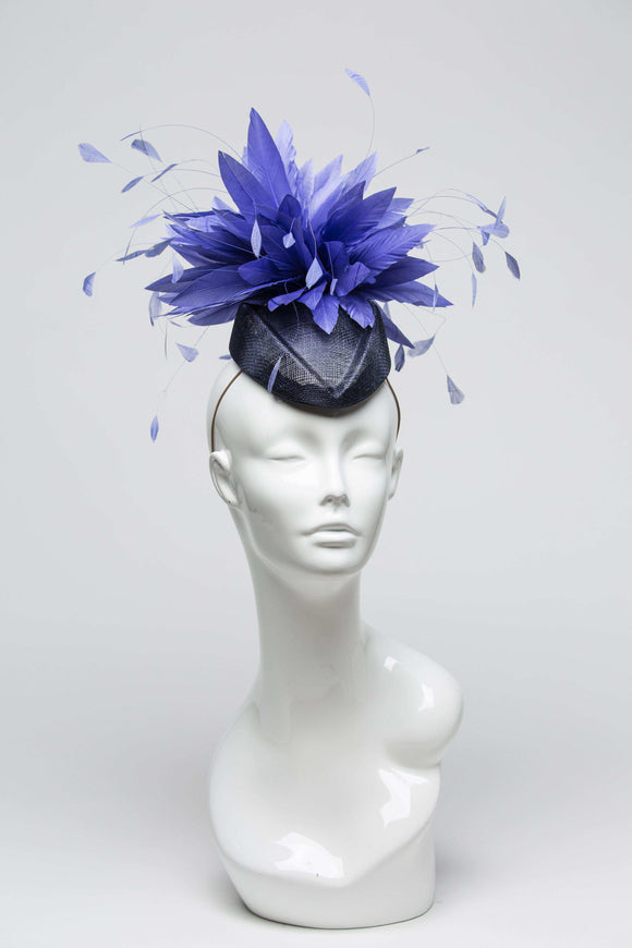 navy fascinator with periwinkle feathers