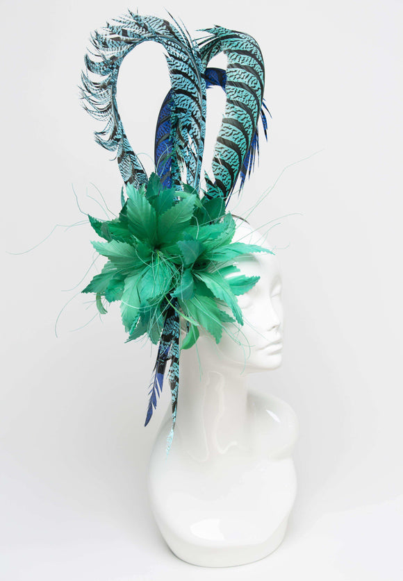 green feather fascinator with pheasant feathers