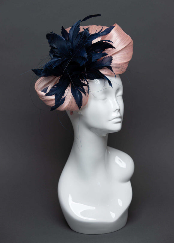 THG2474 - Baby Pink & Navy Blue Feather & Silk Abaca Fascinator