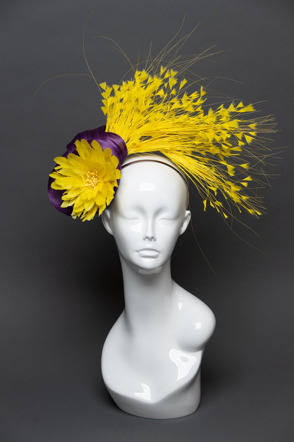THG2554 - Royal Purple and Yellow Fascinator, Feathers and Silk Abaca