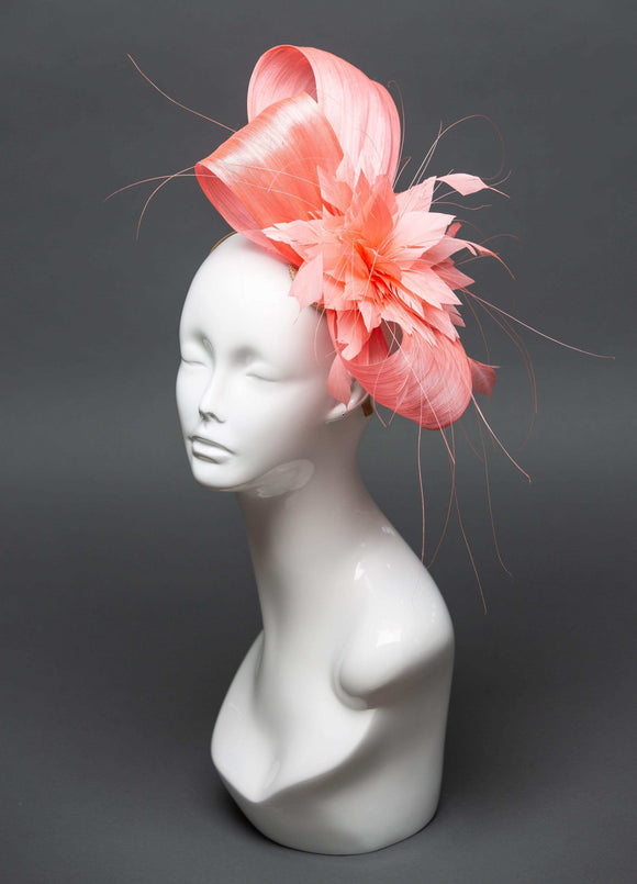 THG2455 - Coral Silk Abaca Fascinator
