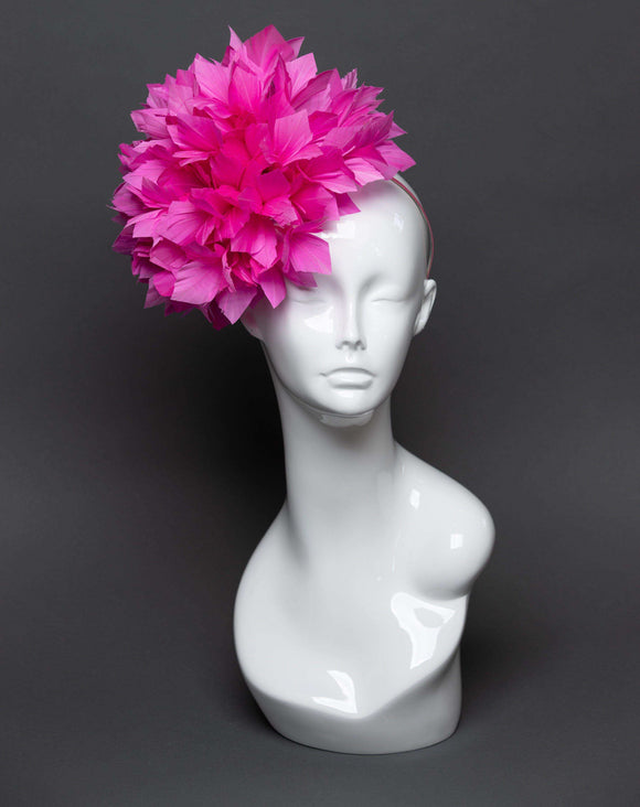 THG2471 - Pink Hand-cut Feather Fascinator Puff