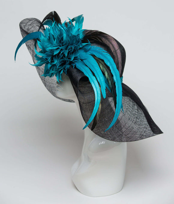 Black and Teal Kentucky Derby Hat - THG0952