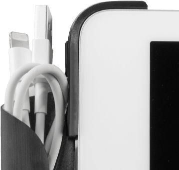 Accessory flap closed with Apple Lightning Cable inside