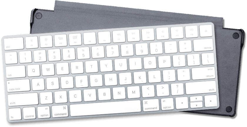 Apple Magic Keyboard overlaying it's holder from Touchtype Pro iPad case