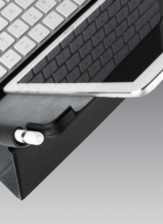 Top angled view of Touchtype Pro case with iPad in portrait orientation