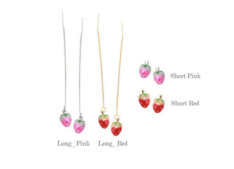Cute Long Chain Strawberry earrings and  Strawberry post earrings, fruit earrings, fruit jewelry