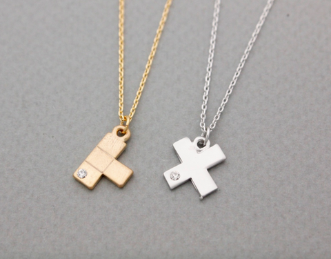 Tetris Piece charm, Puzzle necklace with cubic in silver / gold
