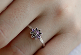 925 sterling silver Tiny Daisy flower ring