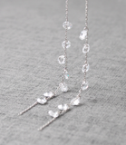 925 Sterling Silver Swarovski Crystals drop Ear Threader ,Crystal Tear Drops Pull Through Earrings