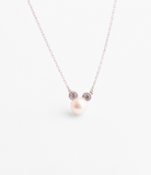 925 Sterling Silver Pearl Mickey Mouse detailed with CZ Necklace