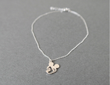 925 sterling silver cut out Mickey Mouse charm Anklet,Summer jewelry