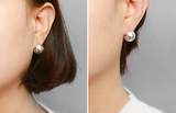 925 sterling silver Ball stud earrings, One Touch silver  ball clip stud Earrings in 3 colors