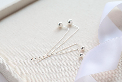 925 sterling silver ball long post earrings,long stick post earrings, silver ball stud earrings with long posts in 3 colors