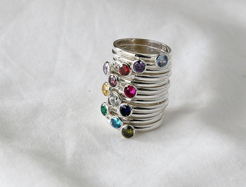 925 Sterling Silver Simple Stacking Ring detailed with colored Cubic Zirconia, birthstone ring, R1135S