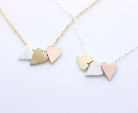 3 Hearts dangling Necklace in 3 colors(925 sterling silver / plated over Brass), N0002G