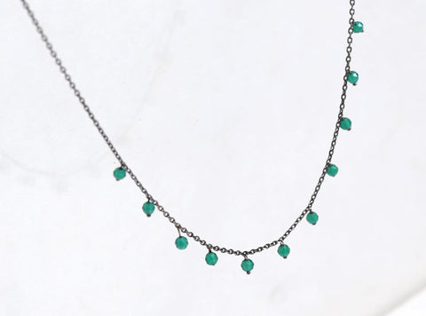 925 Sterling Silver Green Onyx gemstones drop necklace, Onyx Drops dangling necklace,