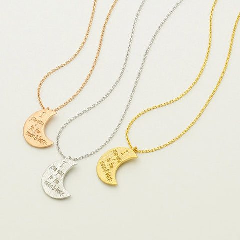 i love you to the moon and back necklace, Crescent moon pendant Necklace in 3 colors