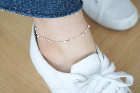 925 Sterling Silver Tiny silver balls dangle charms Anklet , Summer jewelry