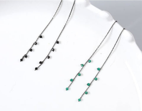 925 Sterling Silver Green Onyx drop Ear Threader, Onyx Drops Pull Through Earrings, Tiny onyx long chain earrings