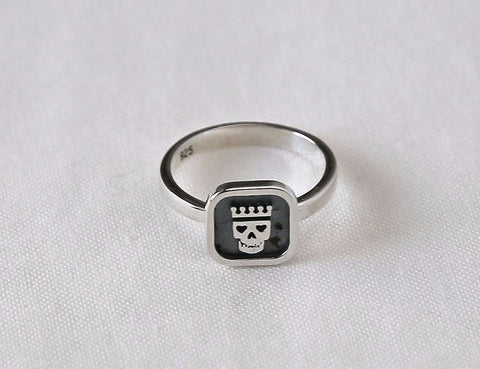 925 sterling silver Skull Flat Relief Ring