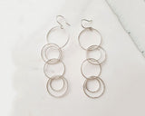 925 Sterling Silver connected circles drop earrings ,Connected rings hoop Earrings. Bubble rings long earrings,Connected circles long chain earrings,