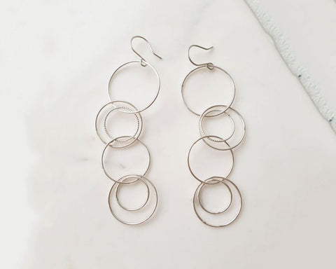 925 Sterling Silver connected circles drop earrings ,Connected rings hoop Earrings,circle linked earrings
