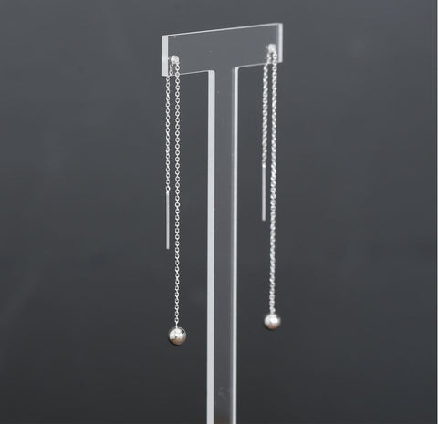925 Sterling Silver Ball Drop Chain Threader, Silver Ball Drops Pull Through Earrings