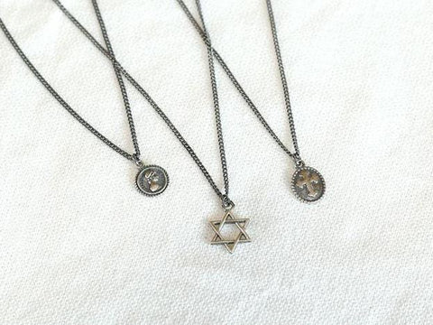 925 Sterling Oxidized Silver Vantage Coin medal , Cross and Hexagram Pendant Necklace