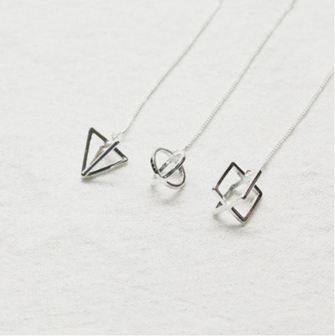 925 sterling silver Double Circles, Cube, Triangle Ear Threader, Open Circle ear threader