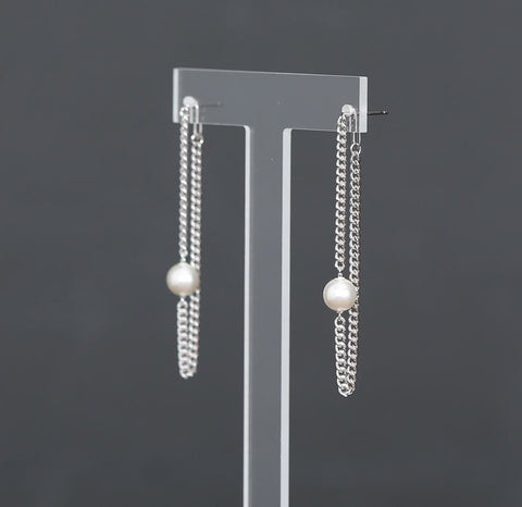925 Sterling Silver front and back pearl and long chain drop earrings, Two way Pearl  earrings