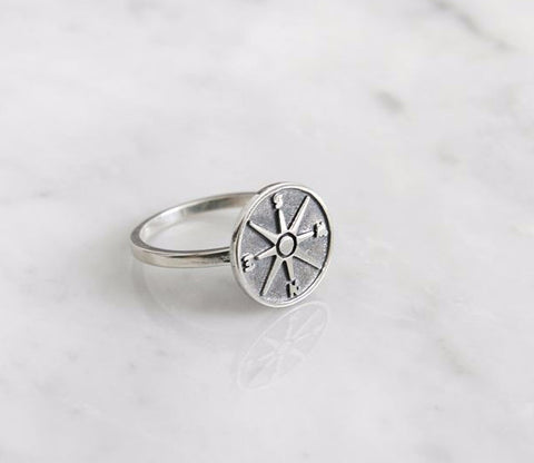 925 Sterling Silver antique Compass statement Ring