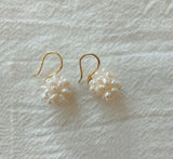 925 Sterling Silver Fresh water pearls Cluster hook earrings,  Pearls Drop dangle earrings