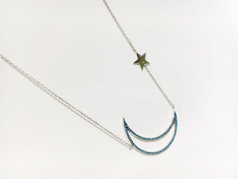 925 sterling silver Turquoise setting Open Crescent moon and Twinkle Stars Necklace