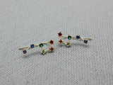 Rainbow Cubic Big Dipper Constellation Ear Climber Earrings, Stars ear pin, Rainbow CZ Crawler