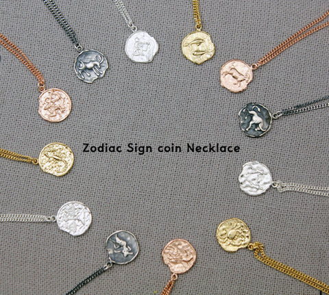 925 sterling silver Zodiac Sign coin Necklace / Constellation Signs medal necklace /Vintage coin necklace
