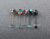 925 Sterling Silver Tiny Gemstones dangle Earrings ,Dangle cubic string earrings