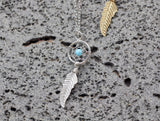 925 sterling silver Dreamcatcher Turquoise Necklace, Turquoise pointed Dream Catcher
