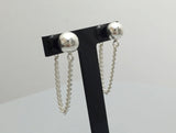 925 Sterling Silver Ball and Long Chain Front and Back earrings, U chain ear jacket, Long chain dangle earrings