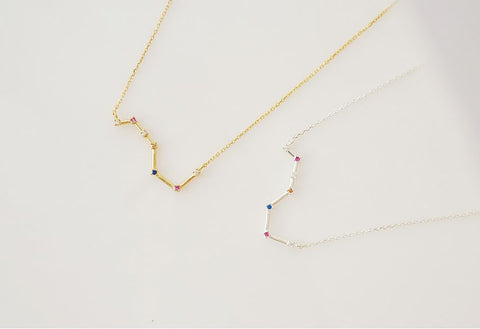 925 sterling silver Big Dipper necklace detailed with cubic zirconia in gold / silver, N0090S