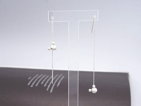 925 Sterling Silver Tiny Mickey Mouse Face Earrings, Long drop Ear Threader