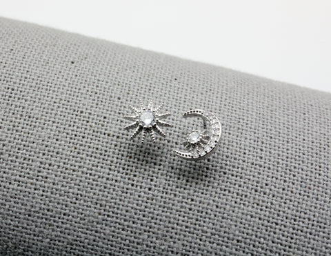 Cubic Zirconia detailed Crescent Moon and Star stud Earrings , Crescent moon and star earrings