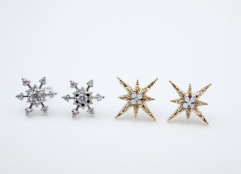 Cubic Snowflake Earrings, Snowflake Studs, Glittery Earring,(choose your style and color)