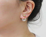 Front and Back Gold and Silver color metal balls ear jacket, Double side earrings