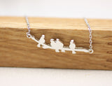 Birds on Branch Necklace, Leaves Branch Necklace Leaf and Birds Necklace, Branch Necklace