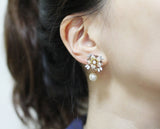 Big Flower and Pearl ear jacket, Flower Blossom ear jacket ,Cubic flower ear cuffs