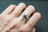 925 sterling silver Tied Knot rope ring, Bow rope Statement ring