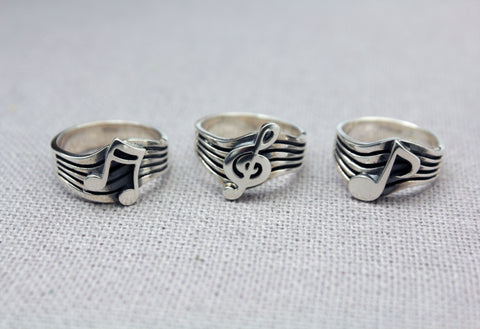 925 Sterling Silver Treble Clef Ring,  Musical Note Ring, Musical note and Treble clef