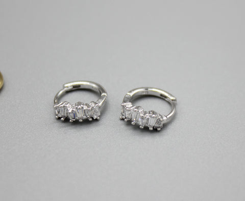 925 sterling silver Baguette Cut square Cubic Zirconia earrings, Baguette square earrings,baguette huggie earrings,Baguette CZ Huggie Hoop Earrings