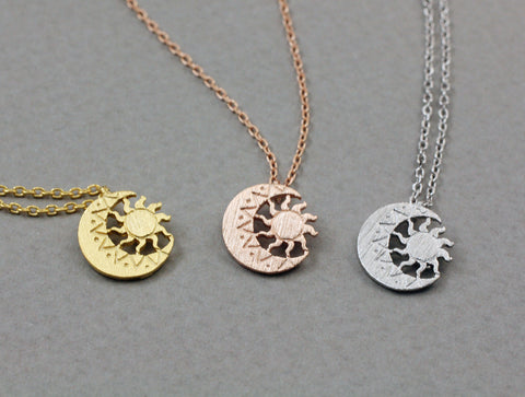 Sun and moon pendant necklace ,sun moon jewelry,wiccan jewelry,pagan, planet necklace, moon necklace
